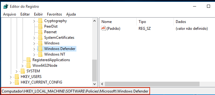 Acessando a chave HKEY_LOCAL_MACHINE\Software\Policies\Microsoft\Windows Defender (Foto: Reprodução/Edivaldo Brito)