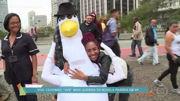 Rafael Cortez leva 'cegonho' para passear em São Paulo