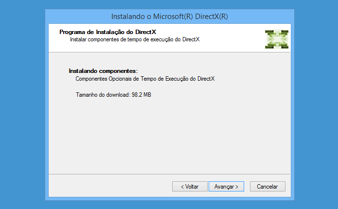 Baixando atualização para o DirectX (Foto: Reprodução/Helito Bijora)