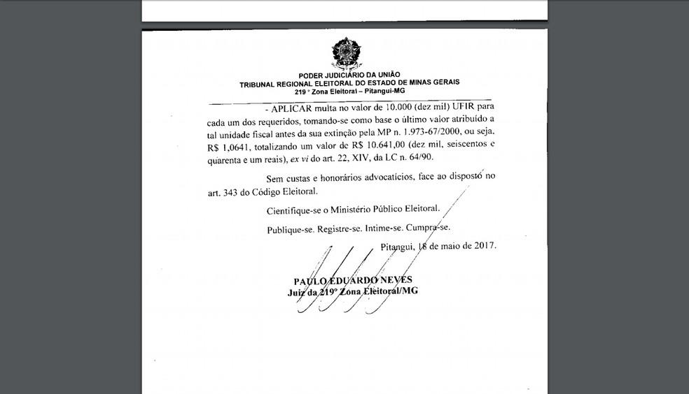 Última página da sentença assinada pelo juiz Paulo Eduardo Neves (Foto: TRE/Reprodução)