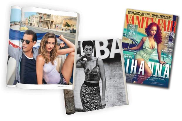 A modelo Ana Beatriz Barros e o ator Bobby Cannavale em Havana para editorial da GQ americana de junho de 2015, Joan Smalls para W Magazine de setembro de 2015 e Rihanna na capa da Vanity Fair de novembro de 2015 (Foto: Giampaolo Sgura/arquivo Vogue, Imaxtree, Thinkstock e Divulgação   )