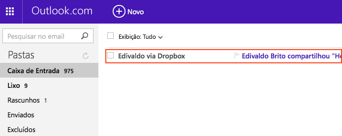 Abrindo o e-mail enviado pelo DropBox (Foto: Reprodução/Edivaldo Brito)