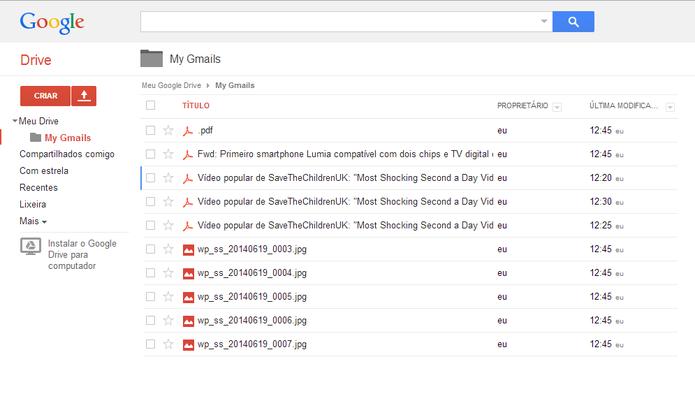 E-mails e anexos do Gmails serão salvos na pasta criada pelo script no seu Google Drive (Foto: Reprodução/Elson de Souza)