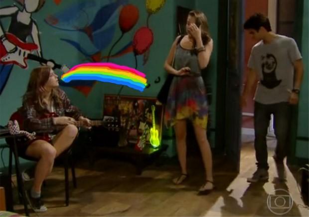 Lia vomitando arco-íris (Foto: Malhação / TV Globo)