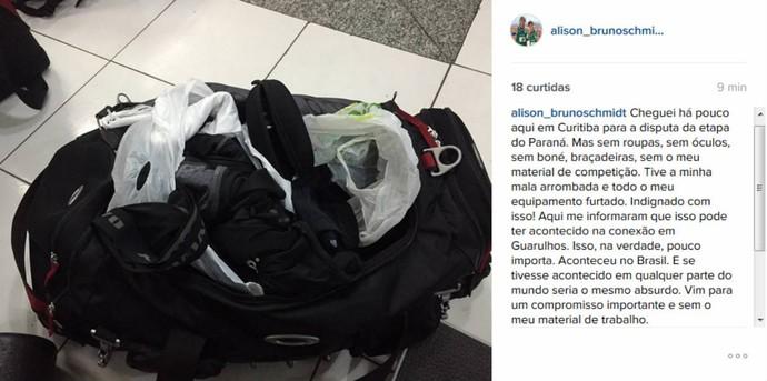 Bruno Schmidt reclama após furto de equipamentos  (Foto: Reprodução / Instagram)