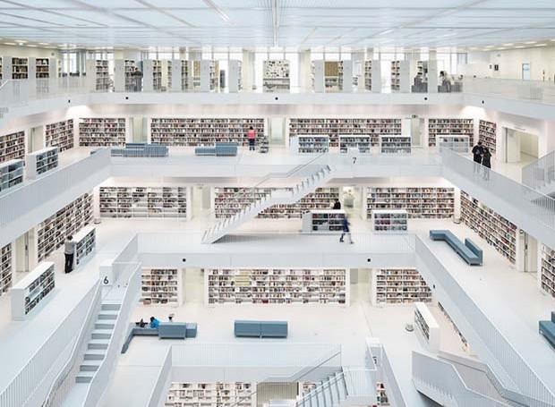 Open Space, Biblioteca da Cidade em Estugarda, na Alemanha (Foto: Reinhard Görner)