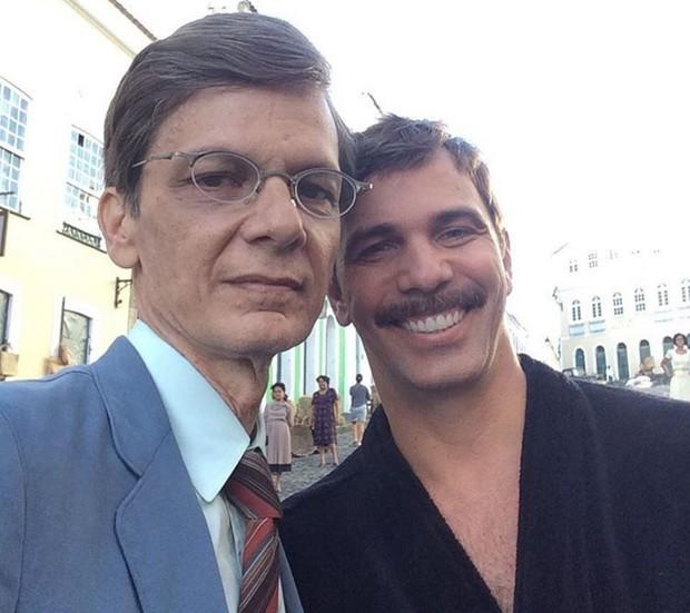 Duda Ribeiro e Marcelo Faria nos bastidores de Dona Flor e Seus Dois Maridos (Foto: Reprodução/Instagram)
