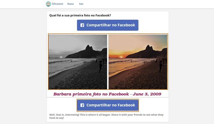 O resultado com a primeira foto do Facebook será mostrado na tela (Foto: Reprodução/Barbara Mannara)