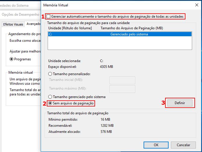 Desativando o arquivo de paginação do Windows (Foto: Reprodução/Edivaldo Brito)