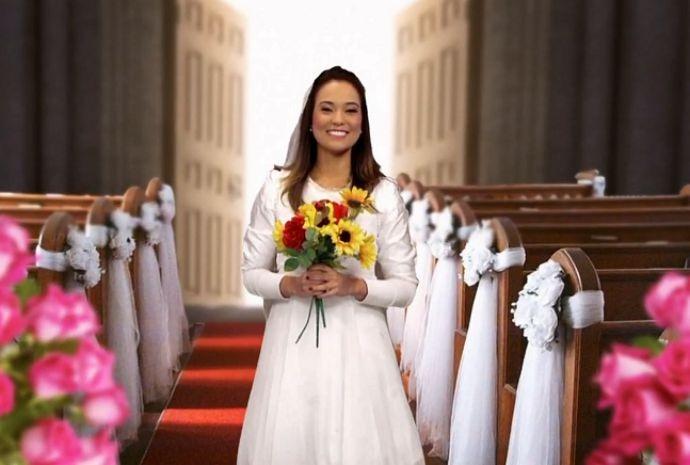 Véu, grinalda e tapete vermelho fazem parte dos sonhos de muitos noivos (Foto: Reprodução / TV TEM)