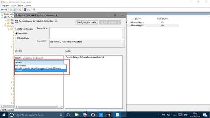 Selecione a opção desabilitado para desativar o Windows Ink (Foto: Reprodução/Elson de Souza)