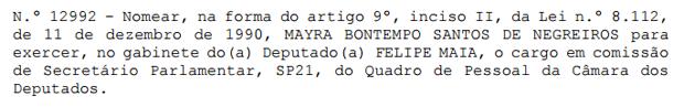 Ato da Câmara dos Deputados oficializa nomeação de Mayra Negreiros no gabinete do deputado Felipe Maia (DEM-RN) (Foto: Reprodução)