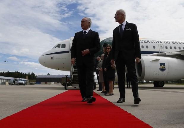 O presidente Mihcel Temer é recebido em sua chegada a Oslo para visita oficial à Noruega (Foto: Beto Barata/PR)