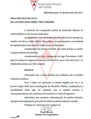 Tricordiano pode jogar com portões fechados (Foto: Reprodução site Federação Mineira de Futebol)
