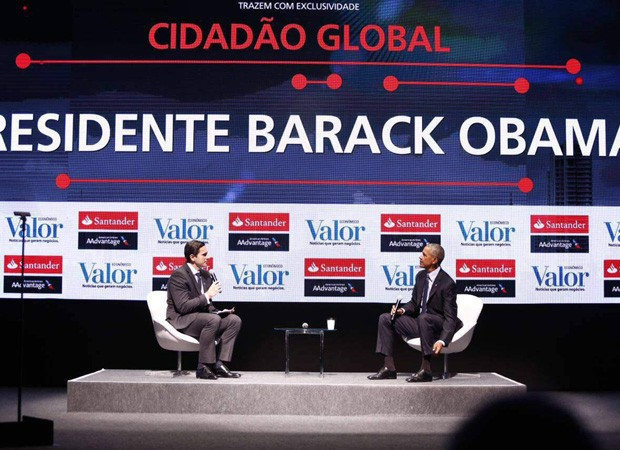 Frederic Kachar, diretor executivo da Divisão de Publicação do Grupo Globo, e Barack Obama (Foto: Ricardo Cardoso/Divulgação)