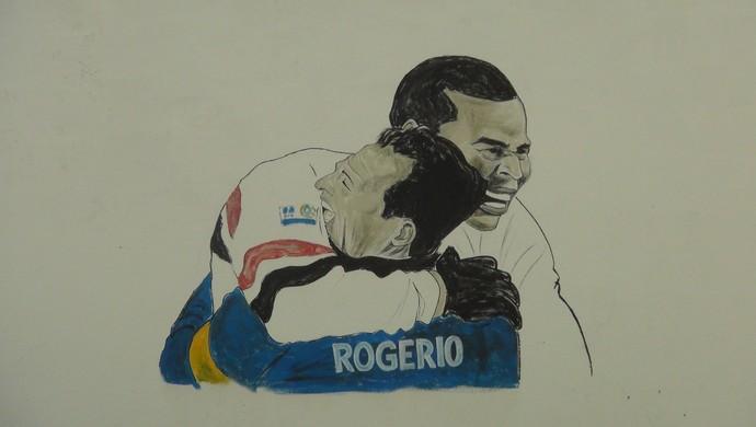 Gravura mostra abraço de Aloísio Chulapa e Rogério Ceni (Foto: Denison Roma / Globoesporte.com)