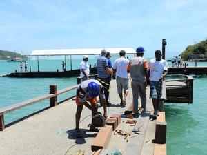 Pier recebe passageiros de transatlânticos  (Foto: Marcelo Dutra/Divulgação)