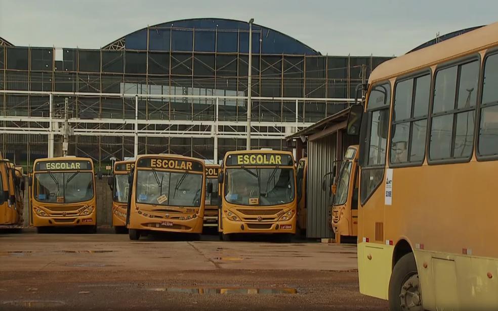 Ônibus de transporte escolhar estacionados em pátio (Foto: TV Globo/Reprodução)