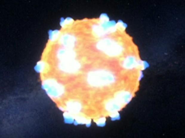 Nasa faz registro inédito de explosão de supernova (Foto: Reprodução/BBC)
