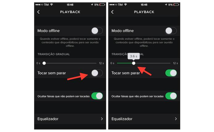 Configurando a função tocar sem parar do Spotify no iPhone (Foto: Reprodução/Marvin Costa)