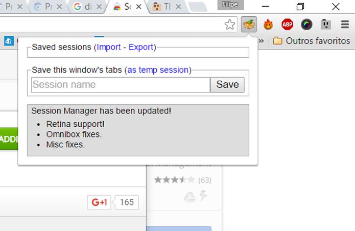 Session Manager salva sessões inteiras, com abas carregadas, para consulta posterior (Foto: Reprodução/Filipe Garrett)