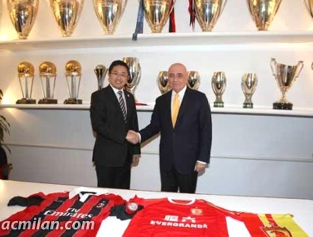 acordo entre Milan e Guangzhou Evergrande (Foto: Reprodução / Site Oficial do Milan)
