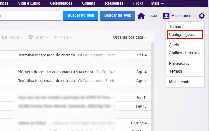 Abra as configurações do Yahoo Mail (Foto: Reprodução/Paulo Alves)