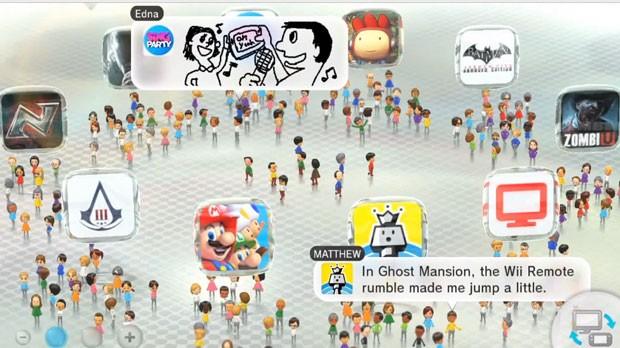 WaraWara Plaza é a tela inicial do Wii U; nela será possível ver o que gamers falam dos jogos do console (Foto: Divulgação)
