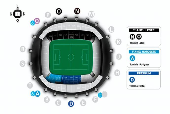 RN - mapa de ingressos Potiguar de Mossoró x ABC, na Arena das Dunas (Foto: Reprodução)