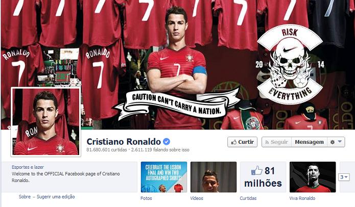 Cristiano Ronaldo do Real Madrid tem 81.174,372 de fãs no Facebook (Foto: Reprodução/Facebook)