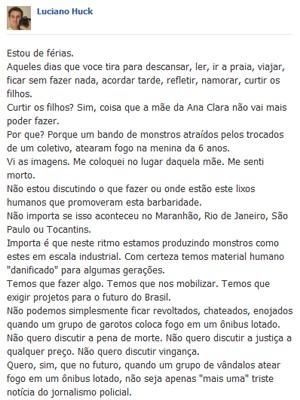 Apresentador Luciano Huck lamentou episódios violentos acontecidos em São Luís (Foto: Reprodução/Facebook)