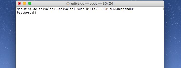 Recarregando o cache DNS no Mac (Foto: Reprodução/Edivaldo Brito)
