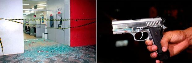 Homem morre ao trocar tiros com a PM dentro do Bradesco em Baraúna (Foto: Marcelino Neto/O Câmera)