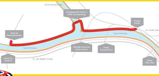 Mapa da ciclovia no trecho (Foto: Divulgação)