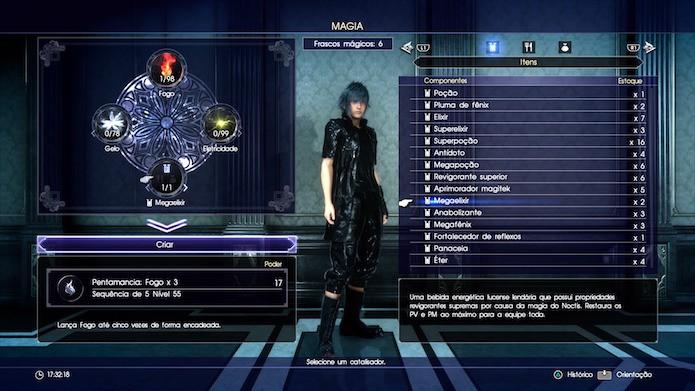 Final Fantasy XV: use itens consumíveis e tesouros para gerar magias mais fortes (Foto: Reprodução/Victor Teixeira)