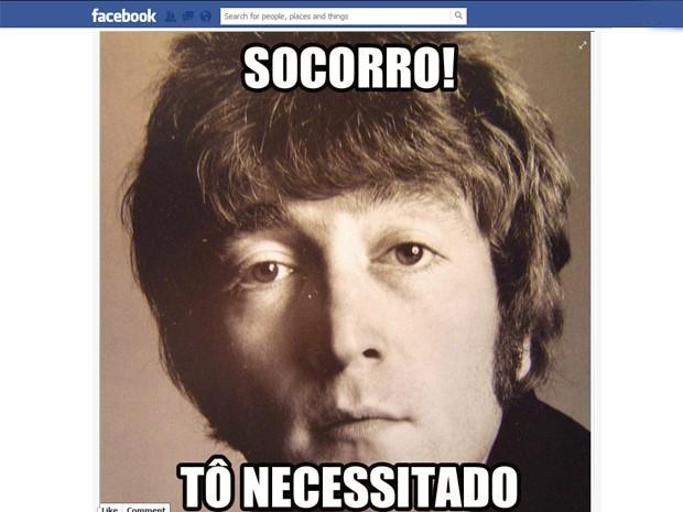 Imagem da página 'João Lennon' no Facebook, que faz referência à música 'Help!', dos Beatles (Foto: Reprodução/Facebook)