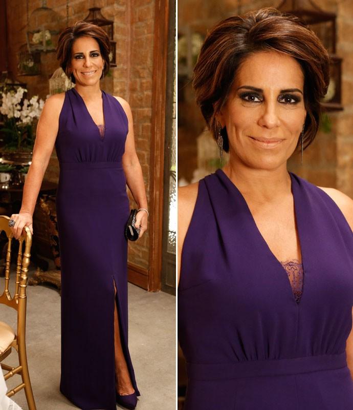 Beatriz investe em longo roxo e clássico para evento sofisticado (Foto: Ellen Soares/Gshow)