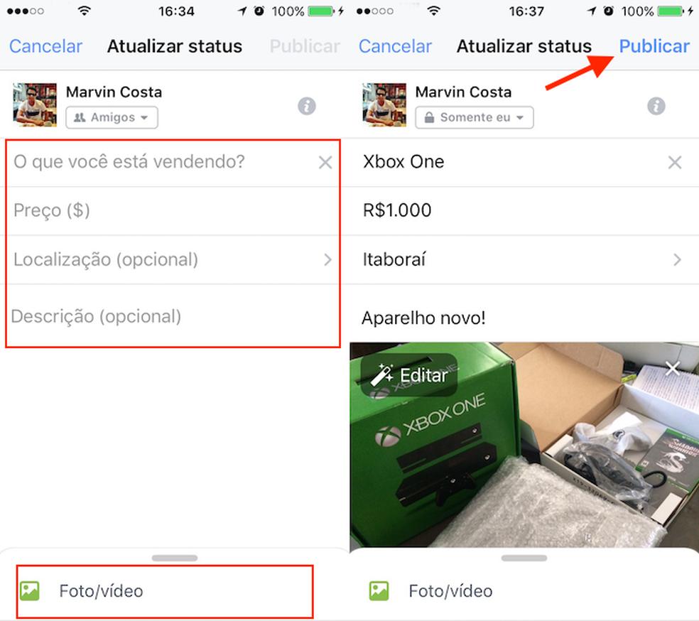 Configuração para criar um post para vender produtos no app do Facebook para iPhone (Foto: Reprodução/Marvin Costa)