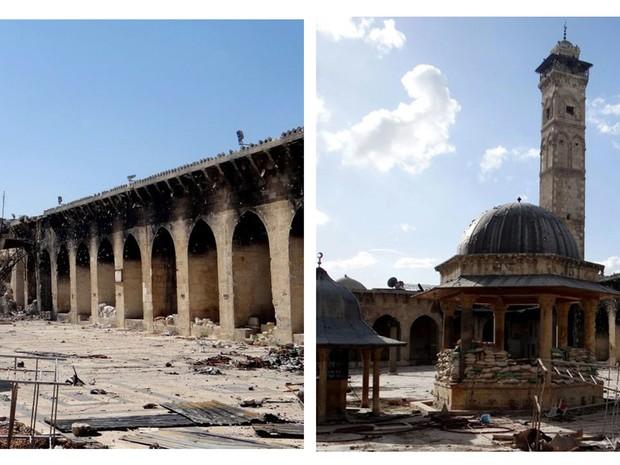Combinação de duas imagens fornecidas por um jornalista do Aleppo Media Center mostra à esquerda a mesquita do século XII sem o minarete de fundo no canto inferior direito e, à direita, a vista da mesquita com minarete é ainda intacto no dia 6 de março. (Foto: AP Photo/Aleppo Media Center, AMC)