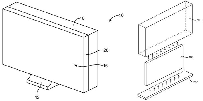iMacs podem ganhar coberturas de vidro, que substituiriam os gabinetes feitos de alumínio atuais (Foto: Reprodução/USPTO)