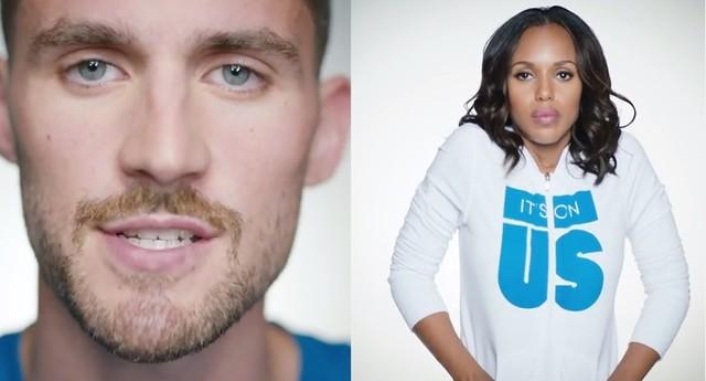 O atleta Kevin Love e a atriz Kerry Washington no vídeo da campanha It's On Us (Foto: Reprodução)