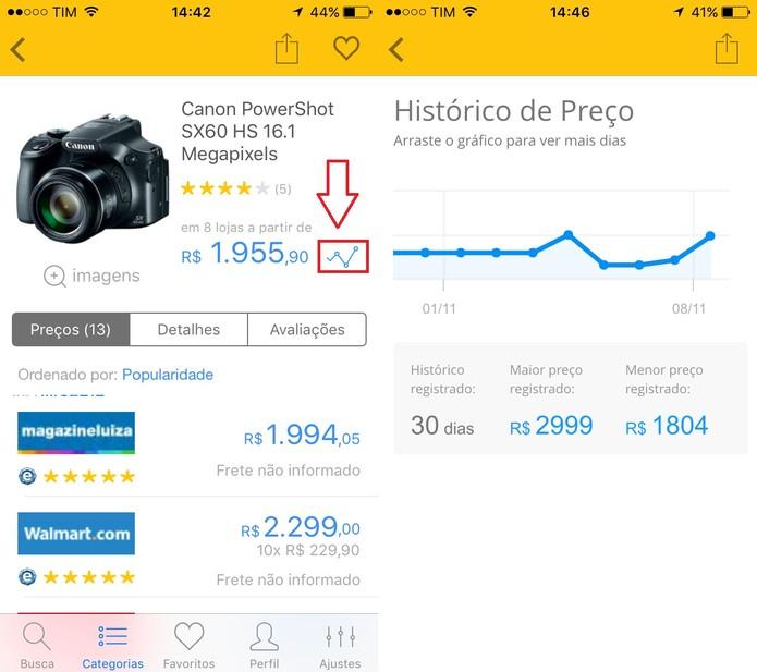 Clique no ícone ao lado do preço para ver o histórico de preço dos últimos 30 dias (Foto: Reprodução/Juliana Pixinine)