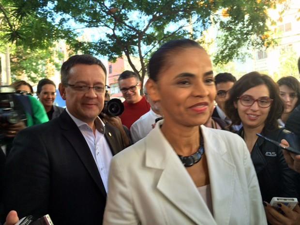 Marina Silva e Beto Albuquerque concedem entrevista coletiva em São Paulo (Foto: Amanda Previdelli/G1)