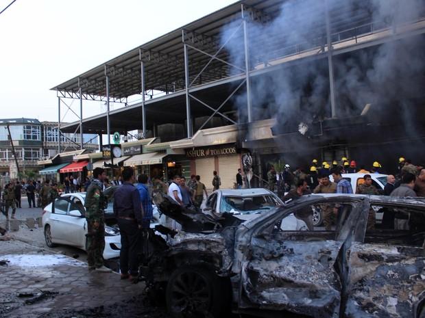 Carro-bomba explode perto de consulado dos EUA no Iraque (Foto: STR / AFP)