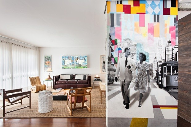 A arte na sala tem significado afetivo para o morador: o desenho é baseado em uma foto de seus avós. Ideia da arquiteta Maria di Pace (Foto: Edu Castello / Editora Globo)