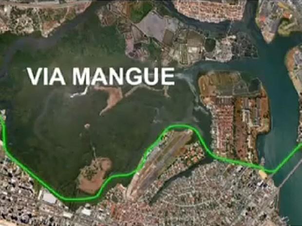 Projeção do traçado da Via Mangue, que terá 47 quilômetros de extensão entre o Centro e Boa Vaigem (Foto: Divulgação/Prefeitura Municipal do Recife)