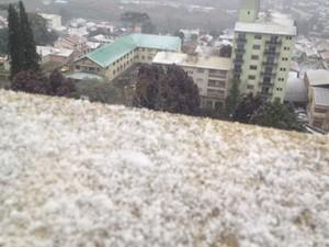 Cidade de São Joaquim registra fenômeno de neve (Foto: Edivaldo Dondossola/RBS TV)