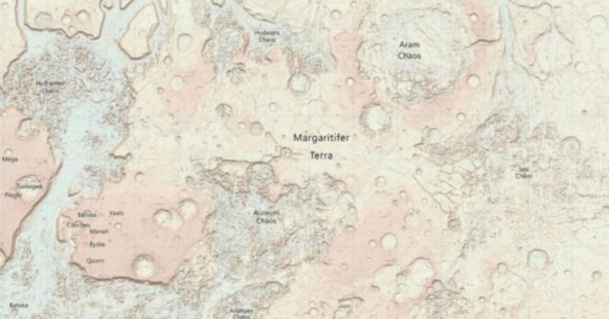 Agência publica mapa inédito de Marte