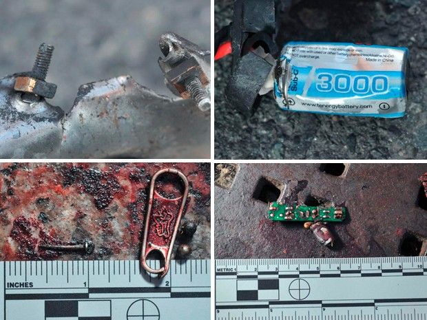Fragmentos encontrados no local da explosão mostram materiais que podem ter sido usados em bombas que foram detonadas em Boston. (Foto: Reuters/Joint Terrorism Task Force of Boston)