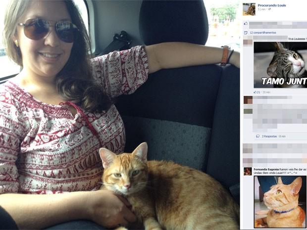 Gato Louis é afagado pela dona durante retorno de Cumbica (Foto: Reprodução/Facebook)